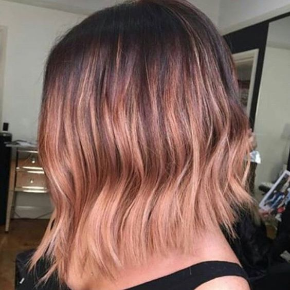 Rose gold lob balayage