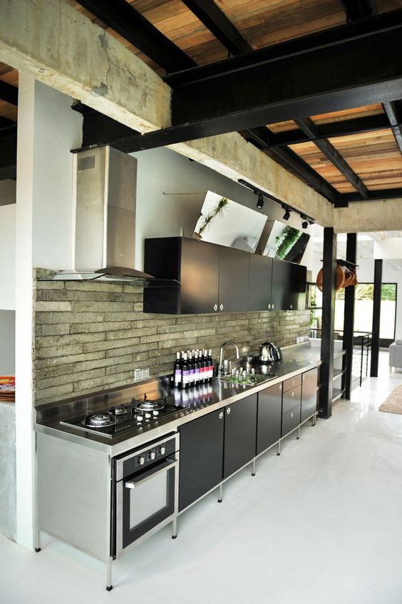 http://stainlesssteelproperties.org Outside kitchen with a nice backsplash and black cabinets, for more go to.  http://stainlesssteelproperties.org