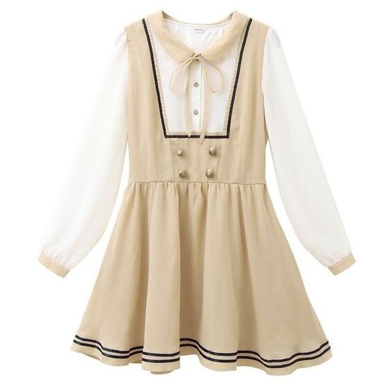 (ニューリーミー)Newlyme レイヤード風セーラーワンピ ❤ liked on Polyvore featuring dresses, lolita and brown dress