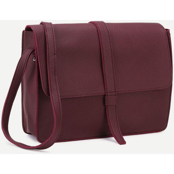 SheIn(sheinside) Burgundy Faux Leather Flap Messenger Bag ($19) ❤ liked on Polyvore featuring bags, messenger bags, satchel messenger bag, handbag satchel, faux leather satchel, brown bag and satchel bag
