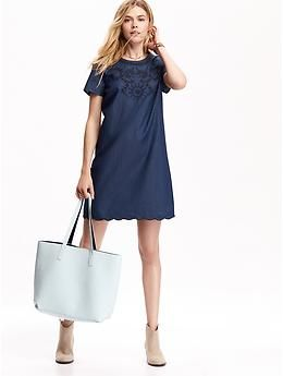 Women&39s Embroidered Chambray Shift Dresses  Old Navy  I Wanna ...