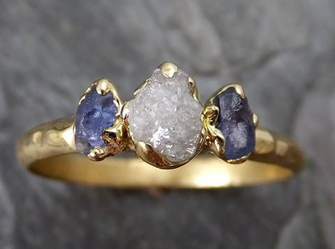 Dainty Raw Sapphire Diamond Gold Engagement Ring Wedding Ring Montana Sapphire blue Violet Gemstone Ring Three stone