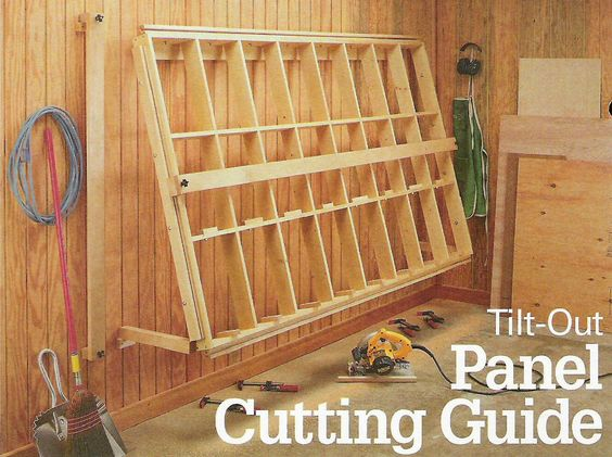 Tilt-Out Panel Cutting Guide. This can be attached to the Shop Notes roll-around lumber cart pinned on this board. #woodshop #lumber #panelsaw