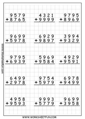 New 2012-12-07! Subtraction Worksheet -- Subtracting Various Multi ...