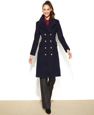 Anne Klein Double-Breasted Wool-Cashmere-Blend Military Coat