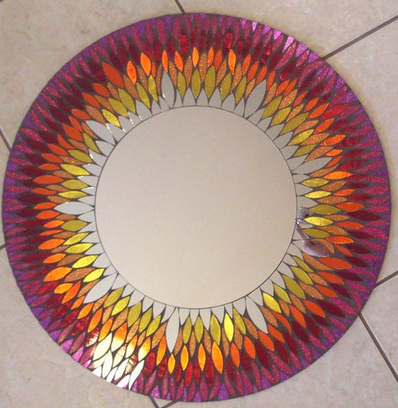 PRICE Reduction ...Red and Yellow Mosaic Mirror SUNFlower Large ...
