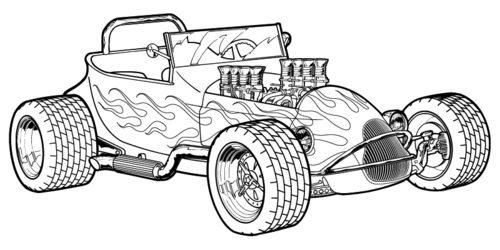 Cool Muscle Cartoon Cars Download Hot Rod Coloring Pages at 1874