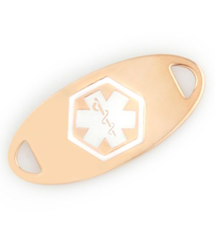 Rose Gold Tone Oval Medical ID Tag