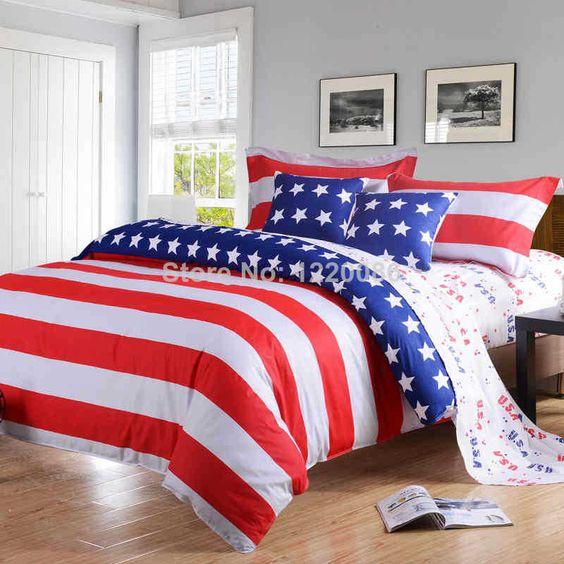 2014 New American Pie Flag Printing 4pcs Bedding set 100  Cotton Twin Queen. 2014 New American Pie Flag Printing 4pcs Bedding set 100  Cotton