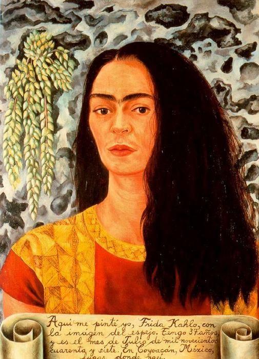 """""""Autorretrato con el pelo suelto"""" von Frida Kahlo (1907-1954, Mexico)"""