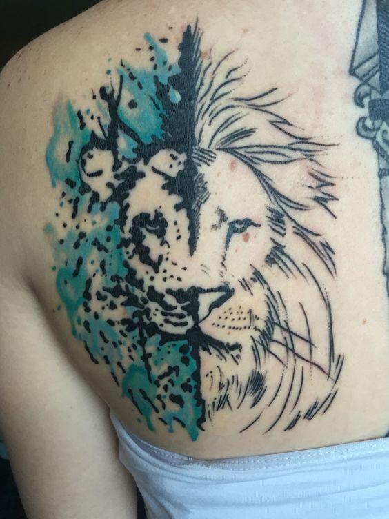 Lion tattoo.  #tattoo #liontattoo #watercolortattoo #paintsplattertattoo
