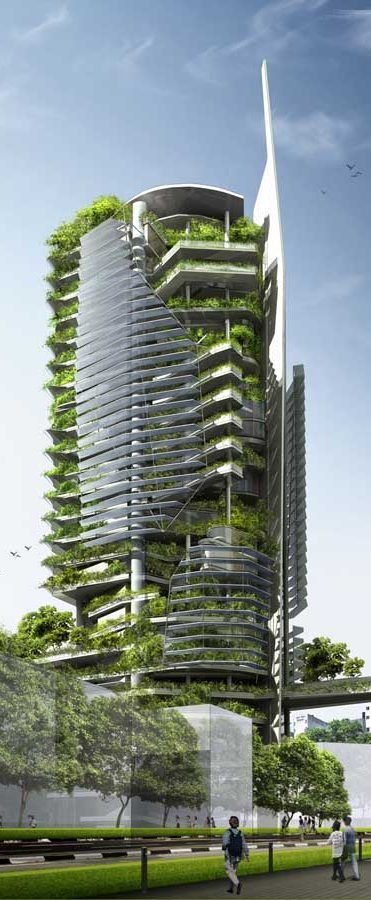 Editt Ecological Tower, Singapore designed by T.R. Hamzah & Yeang Sdn Bhd:
