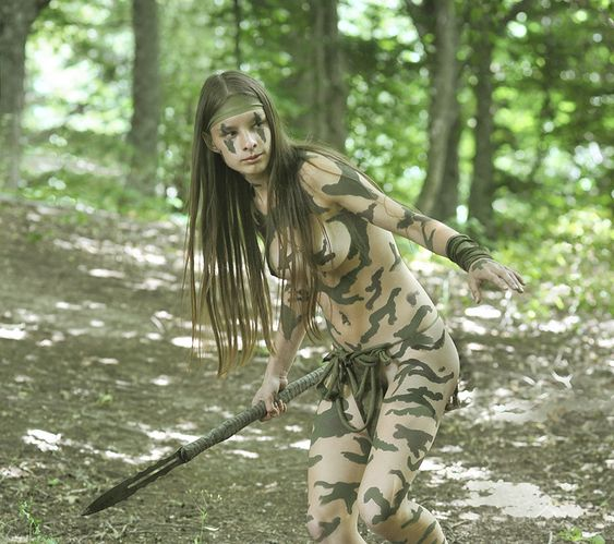 All paintball girls in camo body paint apologise