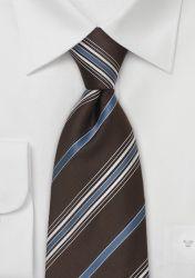 Krawatte Linien nussbraun blau günstig kaufen