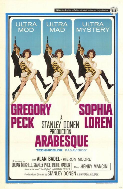 """MP725. """"Arabesque"""" Movie Poster by Robert McGinnis (Stanley Donen 1966) / #Movieposter"""