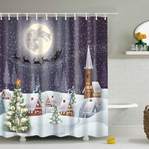 Snowing Night Fabric Waterproof Christmas Shower Curtain