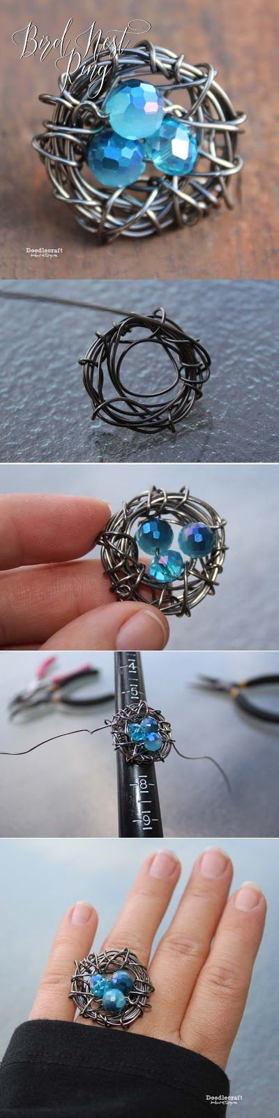 Wire Wrapped Bird Nest Ring!  Adorable mother ring, great gift idea or just absolute adorableness!