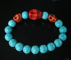 Wholesale 12pcs Turquoise Red Skull Bead Baby Blue Veins Ball Beads Stretch Bracelet ZZ235 by igminuscn.storenvy.com, $25