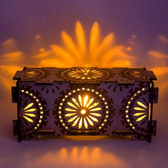 wood night light box