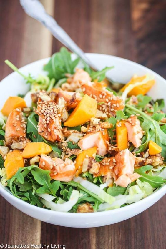 Asian Salmon Arugula Napa Cabbage Mango Salad with Candied Walnuts - this salad is deliciously light and hearty enough for a main course salad ~ http://jeanetteshealthyliving.com: