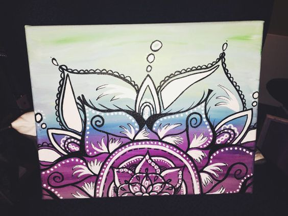 Henna canvases and bohemian on pinterest for Cool canvas painting ideas