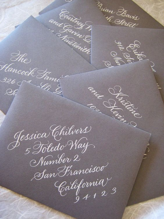 Invitations addressed on a diagonal.