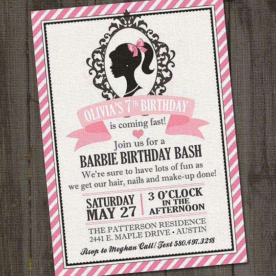 Inspirado invitación imprimible Barbie fiesta de por partymonkey: