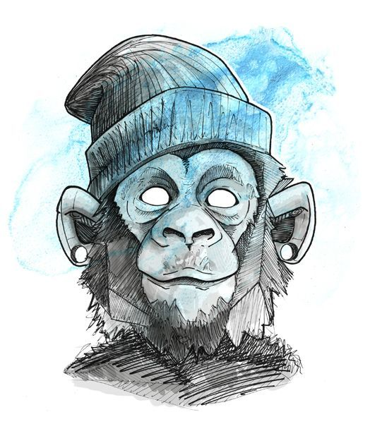 Cool Monkey Face On Behance Affen Skizzen Von Tieren Graffiti