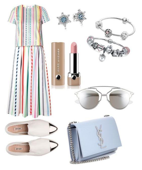 """Stripes"" by maria-theresa-gavieres-padua on Polyvore featuring Mira Mikati, Miu Miu, Yves Saint Laurent, Christian Dior, Pandora, Bling Jewelry and Marc Jacobs"