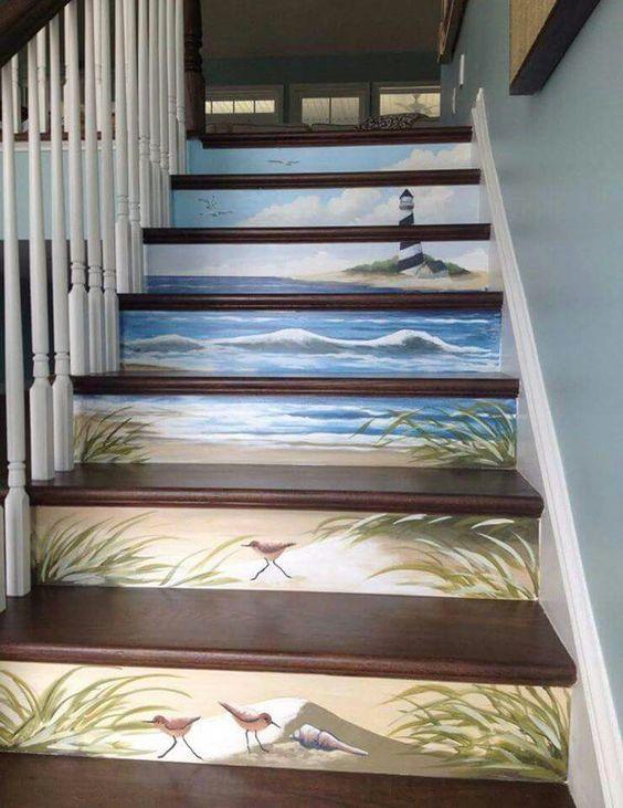 Escaleras pintadas, escalera and vistas al mar on pinterest