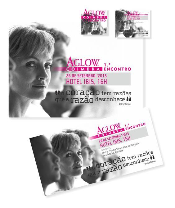 """O Coração tem Razões que a Razão Desconhece - 1.º Encontro Aglow Coimbra"" (""The Heart has its Reasons of which Reason Knows Nothing - 1st Aglow Coimbra Meeting"") | Aglow Coimbra | [Poster] + [Flyer] + [Newsletter] + [Invitation] + [Facebook]"