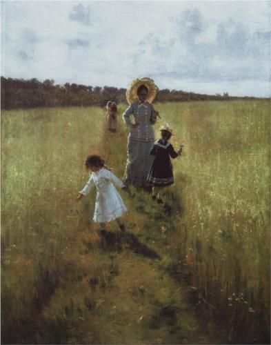 On the boundary path. V.A. Repina with children going on the boundary path - Ilya Repin