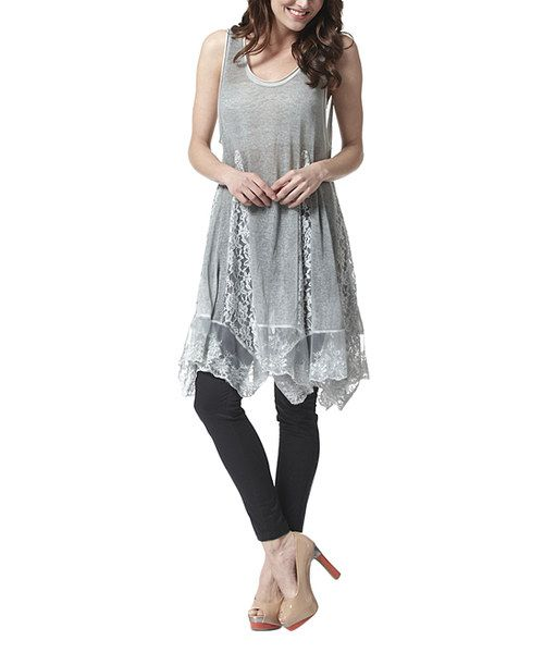 Look at this Simply Couture Gray Lace Godet Tunic on #zulily today!