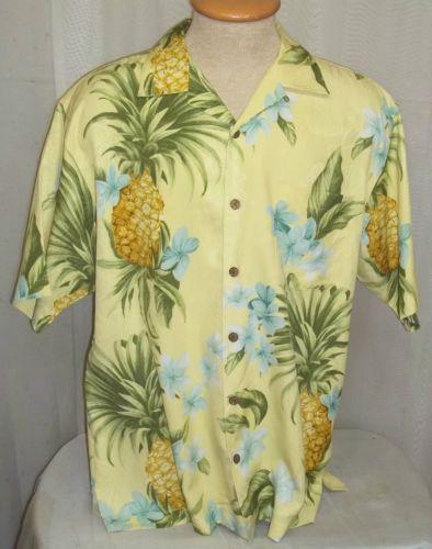 Tommy Bahama Hawaiian Shirt Medium Pineapple Palm Fronds