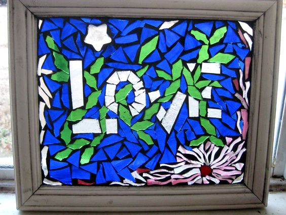 Blue Love Stained Glass On Glass Artist Lisa Anderson