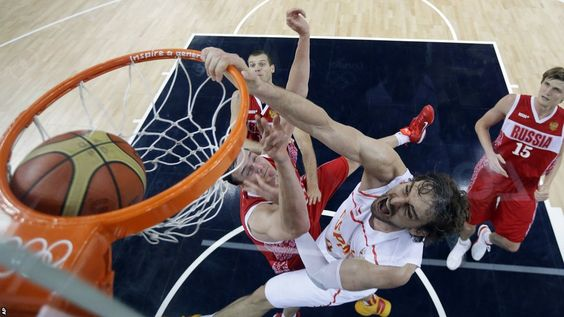 Slam dunk by Pau Gasol of Spain in their semifinal win over Russia