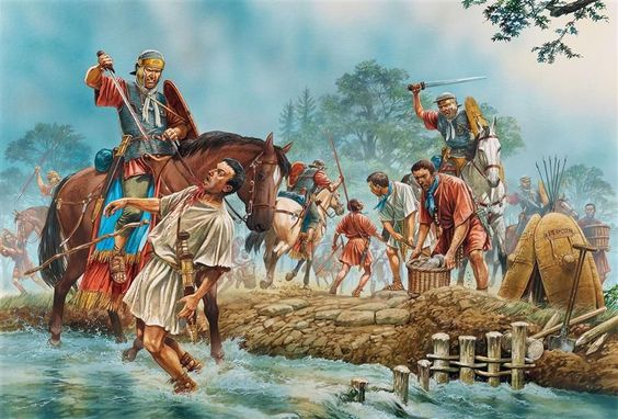 ROMAN: Roman soldiers are attacked by Cherusci Germanic tribesmen still dressed in their Roman armour. they were part of the auxiliary cavalrymen commanded by Arminius, Varus disaster/Teutoburg Forest 9 AD - art by Peter Dennis