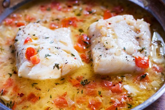 This steamed cod with tomato thyme sauce is the perfect dish year round.the cod is slow cooked it allows the fish to be flaky and buttery every time.