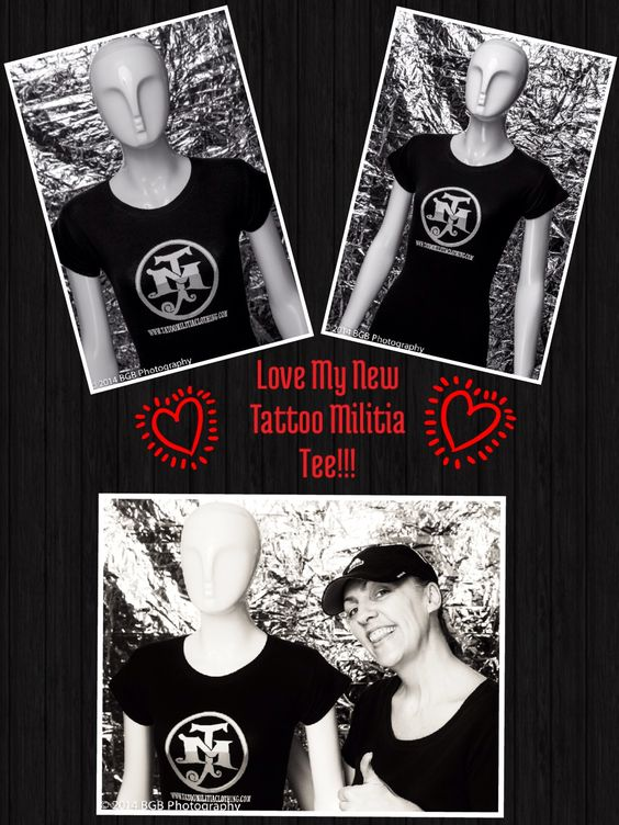 """Check Out my #Cool #New #Tee from TattooTony Rodriguez's #ClothingLine, Tattoo militia clothing!:)   ES Audio Recording Studio's In-House #Photographer, Brendan (of BGBPhoto:) and I had a 'lil #Fun yesterday Shooting some pics after I received my Tees!:) haha:) We even pulled out """"Mary"""" our #Famous #Mannequin:) haha:)   (* If #TattooTony looks Familiar, you may Recognize him from his Appearances on a few of Rocker and #RealityStar Bret Michaels's #TV Shows:)   Pic Collage: #JamminJo 2014"""