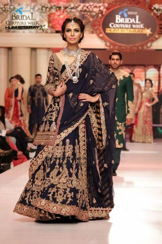 Embroidered Blue Saree By HSY