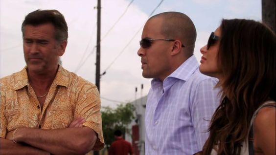 "Burn Notice 5x04 ""No Good Deed"" - Fiona Glenanne (Gabrielle Anwar), Sam Axe (Bruce Campbell) & Jesse Porter (Coby Bell)"