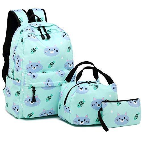 Blue/&Green BLUBOON School Backpack Teens Girls Boys Kids School Bags Bookbag with Lunch bag pencil pouch
