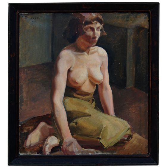 Nude Portrait by C. Brosset, Signed Oil on Canvas c. 1928