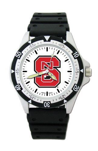 North Carolina State Wolfpack Option Watch by Logo Art. $19.99. Limited lifetime warranty. Officially licensed sport watch with team color logo on dial. Case is 1 1/2 inches wide, 1 inch dial diameter; stainless steel crown, luminous hands. Miyota quartz movement (377 battery). 8 inch black polyurethane rubber strap with stainless steel buckle. NCAA North Carolina State Wolfpack Option Watch