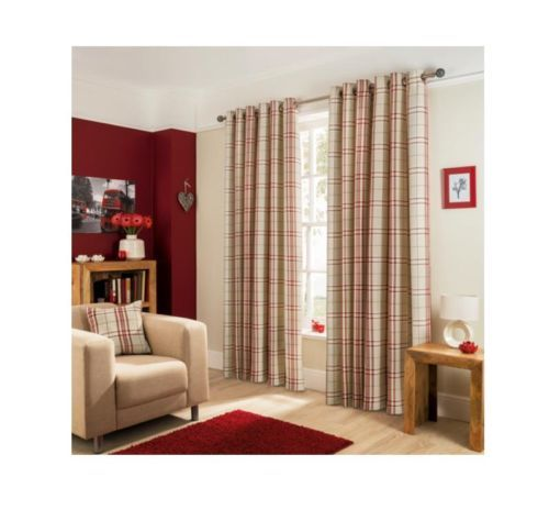 Red Curtains beige red curtains : Natural-Cream-Beige-Red-Woven-Check-Lined-Eyelet-Curtains-Sizes-66 ...