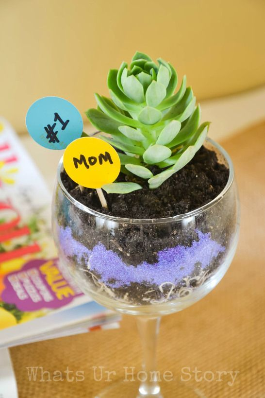 Make this easy wine glass succulent planter as a cute mother's day gift or teacher appreciation gift. www.whatsurhomestory.com