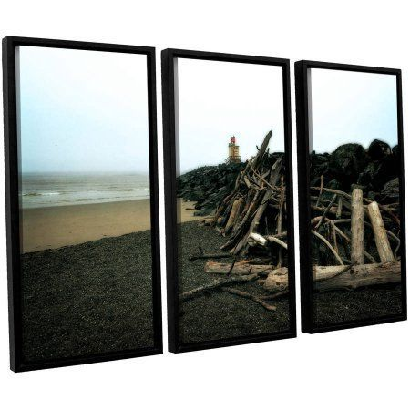 ArtWall Kevin Calkins Soth Jetty and Driftwood 3-Piece Floater Framed Canvas Set, Size: 24 x 36, Brown