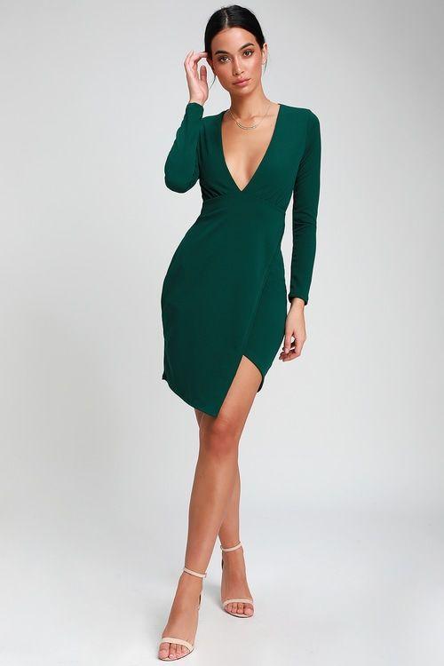 Make It Hot Emerald Green Long Sleeve Bodycon Dress En 2019