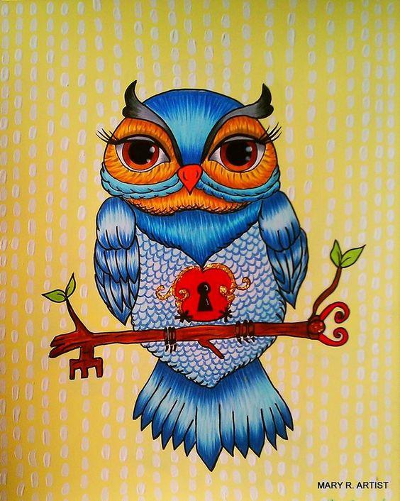 Owl Eyes Paintings ... eyes markers fine ...