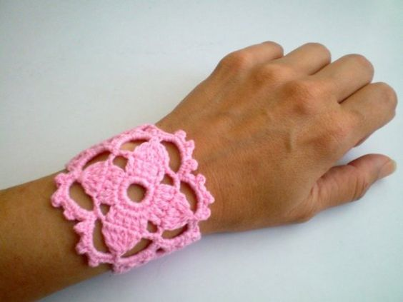 Pink Crochet Flower Lace Cuff  Wrist Band  Gift for by bysweetmom, $15.00